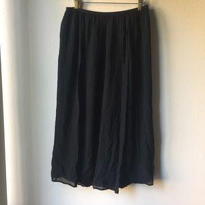 Aritzia Babaton Black Silk Midi Skirt